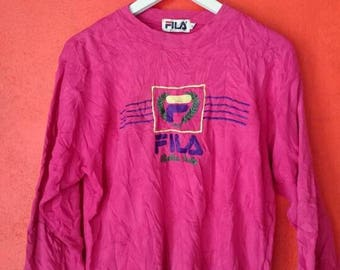 On Sale Vintage Fila Big Logo Embroidery Logo Sweatshirt Size M