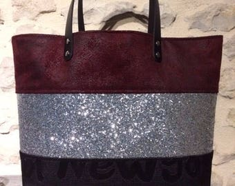 Velvet Burgundy and glitter tote bag