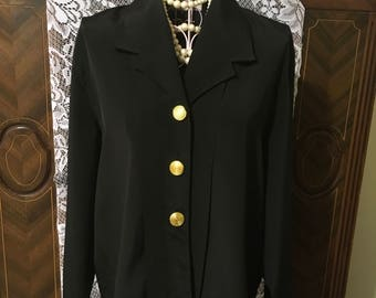 80's black secretary blouse size 10 P