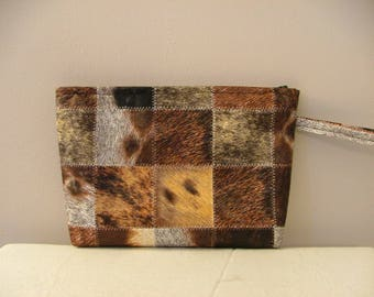 faux animal skin patchwork leather clutch