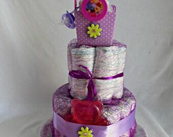 Winnie the Pooh baby girl diaper cake