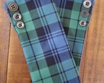 Gauntlet Style Fingerless Plaid Gloves - Campbell Ancient Tartan - Button Detail - Scottish/Celtic Theme