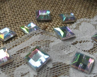 square faceted sewing, transparent beads way Crystal highlights