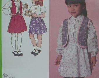Girls Skirt, Blouse, Vest Pattern, Vintage Simplicity Pattern 9737 - Size 5