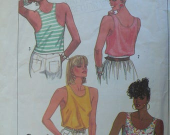 Women's Sleeveless Top Pattern, Vintage Simplicity 7948, Size 6 - 12, 1980s - STRETCH KNITS ONLY