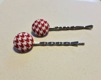Red Houndstooth Fabric Button Bobby Pin