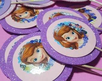 Sofia The First cupcakes toppers, Sofia The First party decor,  set of 12