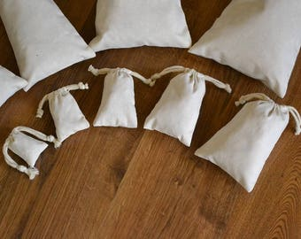 "4""x6"" Cotton Double Drawstring Muslin Bags-(Natural color)"