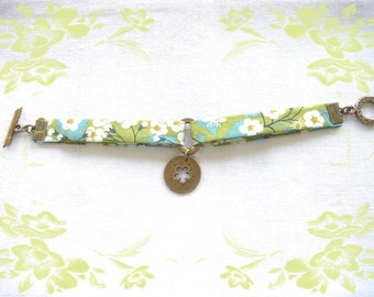Green with Ecru printed flowers Liberty fabric bracelet