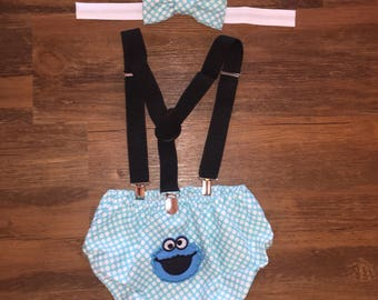 Cookie Monster Inspired Cakesmash Outfit