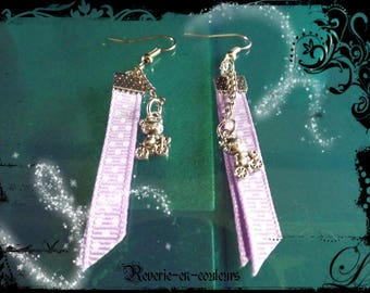 Lilac Ribbon and charm earrings