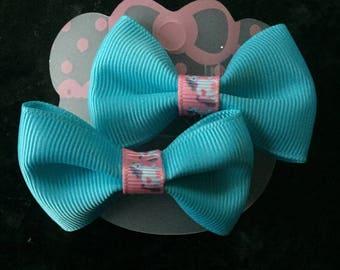 Pair of Tiffany blue bows with pink ribbon