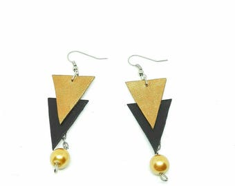 Geometric Leather Earrings - Black Copper