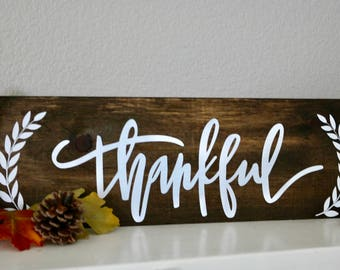 Thankful Sign/Thanksgiving/Fall/Wood Sign