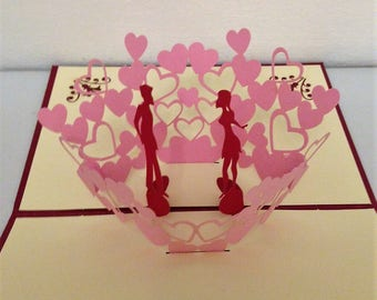 Handmade origami papercraft art 3D popup pop up Valentine's day cards red lover couple pink heart engagement wedding invitation announcement