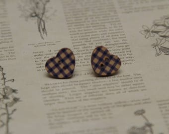 Blue checked gingham wooden love heart silver stud earrings