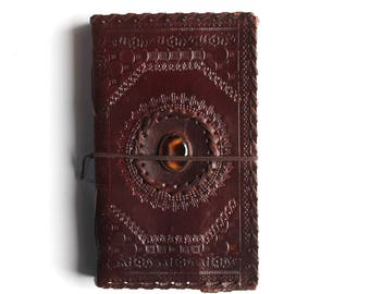 Handmade Brown Leather Diary Notebook Handmade Paper and Stone Leather Diary for Personal Use or Gifting Onyx Stone