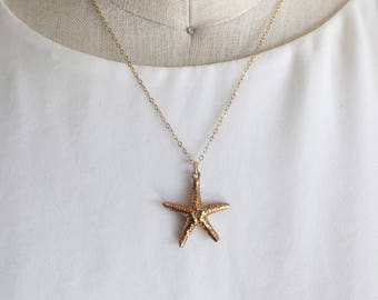 14k Gold Filled Starfish Charm Necklace, Charm, Starfish, Gold Necklace, Starfish Charm, Gold Starfish