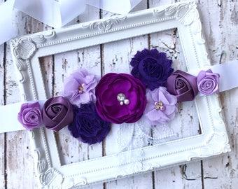 Flower Sash, Bridal, Flower Girl Sash, Lavender Pregnancy, Maternity Sash, Baby Girl, Shower Gender Reveal Party Photo Prop Mauve Soft Pink