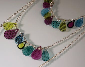 MULTISTRAND necklace drops multicolored ophely