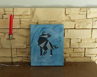 Wolf on canvas