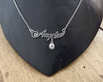 """ANGEL"" and rhinestone necklace"
