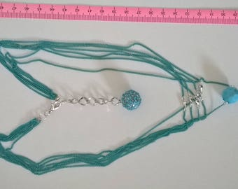 Different length silver turquoise necklace