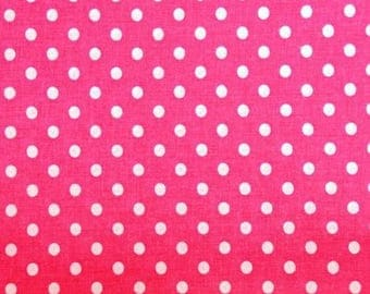 Cotton pink white polka dots