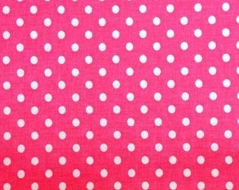 Cotton pink white polka dots