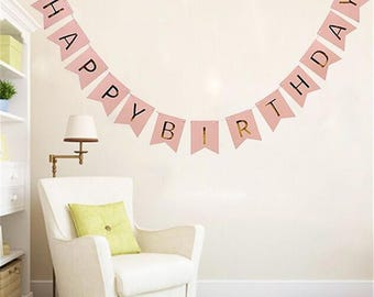 Pink Flag Garland and gold happy birthday