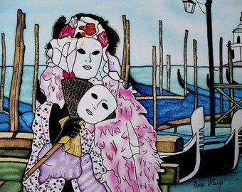 Photo - painting on silk - Carnival of Venice card