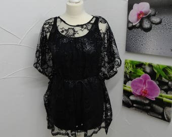 Flower with silver print black lace tunic