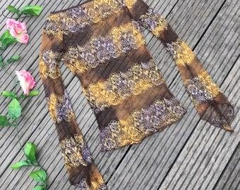 Floral mesh vintage top
