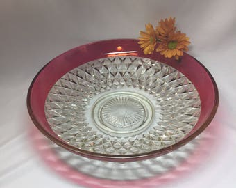Large Serving Bowl Indiana Glass Ruby Flashed Diamond Point
