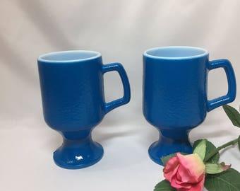 Hazel Atlas Orange Peel Footed Mugs in Blue - set of 2
