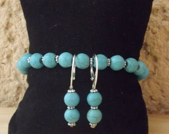 Turquoise earring and bracelet set