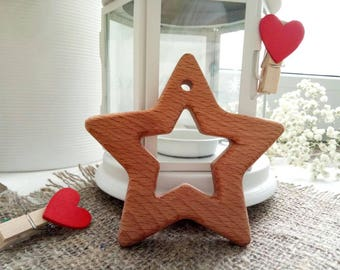 Star Eco friendly toy Teething toy Organic baby teether Wooden toy Infant toy Hand carved teether Present for the baby Beech teether