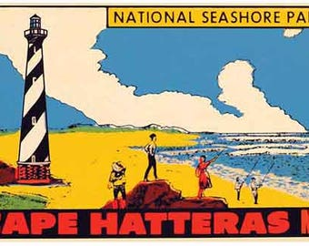 Vintage Style Cape Hatteras NC  North Carolina Outer Banks Lighthouse   Travel Decal sticker