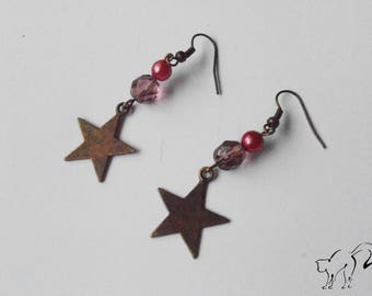 Bronze star earrings and pink beads / purple