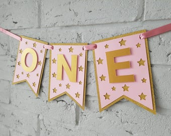 One highchair banner pink. One banner. 1st birthday banner. Pink and gold. Twinkle Twinkle little star. First birthday decorations.