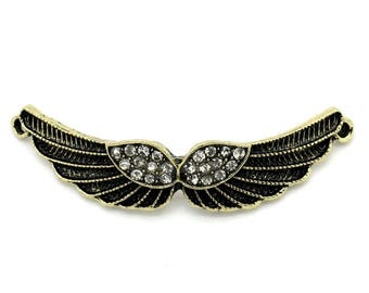 Wings of brass and rhinestone Crystal (x 1) connector