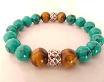 Mens bracelet turquoise green, Tiger eye