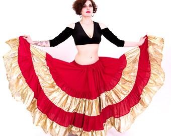 GOLD & RED 25Yard Tribal Skirt Red Gold Gypsy Skirt bellydance Fabulous ATS Skirt
