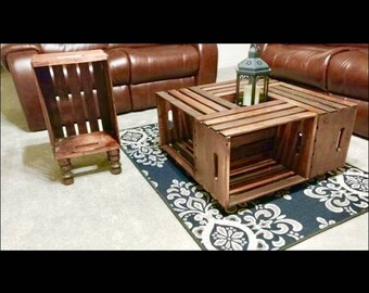Wooden Crate Coffee Table on Wheels with Side Table