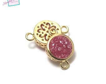"1 connector stone ""agate fuchsia"" round puck 19 x 12 x 6 mm, gold"
