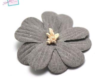 4 flowers in faux leather (suede) 45 X 10 mm, grey