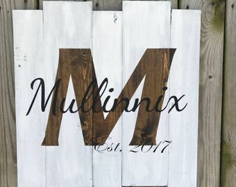 Wedding Anniversary Custom Wood Sign, Last Initial, First Names, Wedding Date Wood Sign