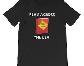 Unisex read across america t shirt read across the usa reading literacy school teachers students principals motivation education learning