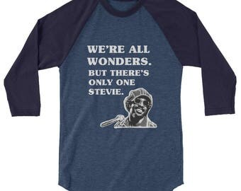Stevie Wonder We're All Wonders 3/4 sleeve raglan shirt choose kind wonder movie kindness anti bullying sir duke superstition higher ground