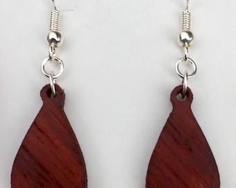 Handmade Bubinga wood teardrop earrings